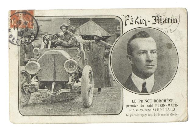 A Pekin-Paris postcard depicting Le Prince Borghese and his 24 Hp Itala, French, 1907,