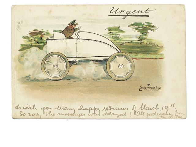 An Urgent postcard depicting a speeding Gardiner-Serpollet inspired car, artwork by Lance Thackeray,