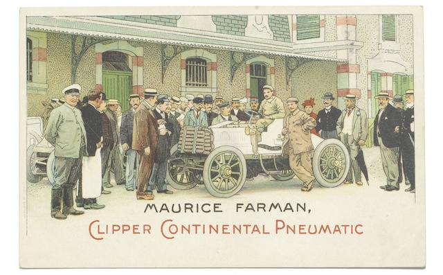 An advertising postcard for Maurice Farman Clipper Continental Pneumatic,