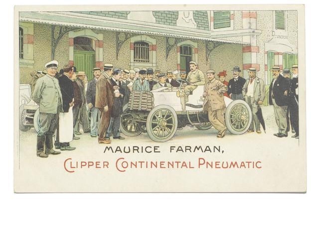 An advertising postcard for Maurice Farman Clipper Continental Pneumatic,