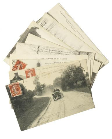 Twelve motor racing post-cards depicting early French circuits,