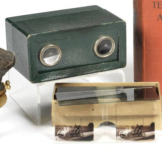 Seventeen stereoscopic glass motoring slides,