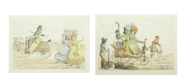 Two hand-coloured prints depicting early steam vehicles, circa 1870,