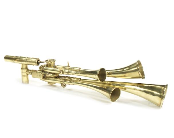 A fine brass four-trumpet Testaphone, by Cicca, French, circa 1909,