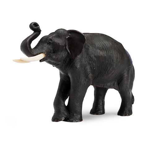A bronze elephant by Hanehiroya Late Edo/Meiji