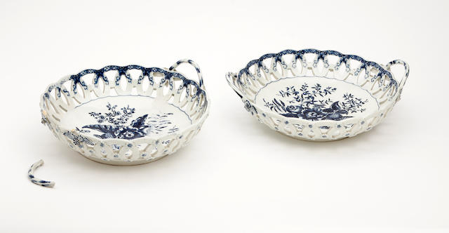 A pair of Worcester baskets Circa 1770-85