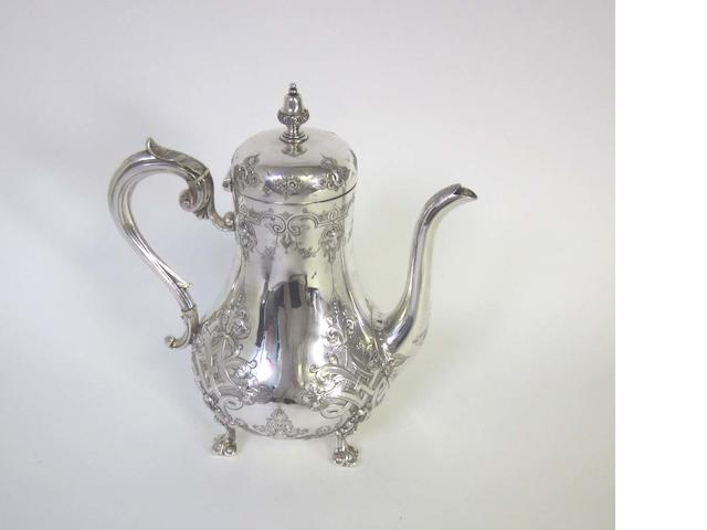 A Victorian silver coffee pot by Martin, Hall Co Ltd, Sheffield 1888