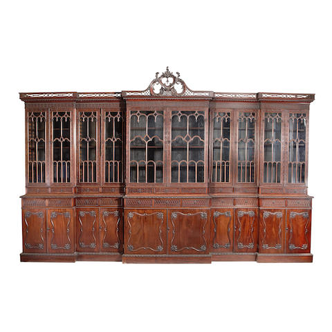 A large Victorian mahogany library bookcase in the Chippendale revival style