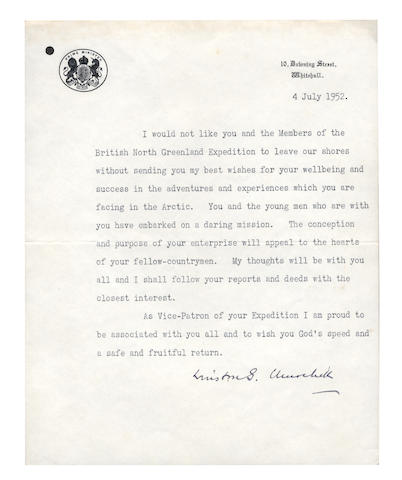 "NORTH GREENLAND EXPEDITION, 1952. CHURCHILL (WINSTON) Two typed letters signed (""Winston S. Churchill""), one to Commander C.J.W. Simpson, leader of the British North Greenland Expedition, the second to Sir Algernon Willis, Admiral of the Fleet; and a few other related items (small quantity)"