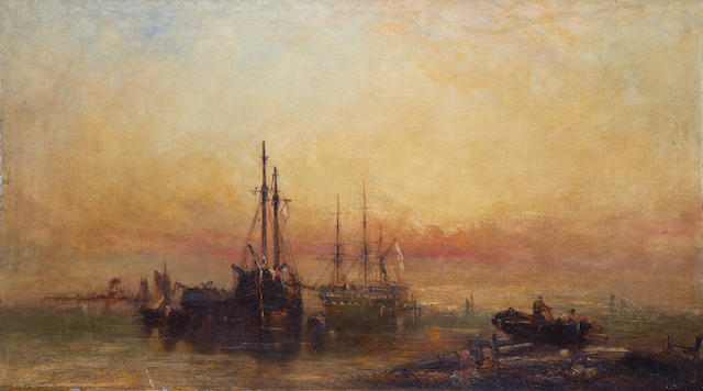 Attributed to Henry Dawson (British, 1811-1878) Shipping at sunset