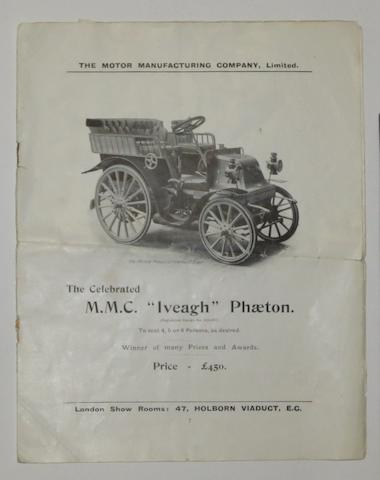 A Motor Manufacturing Co Ltd motor carriages range brochure, circa 1900,