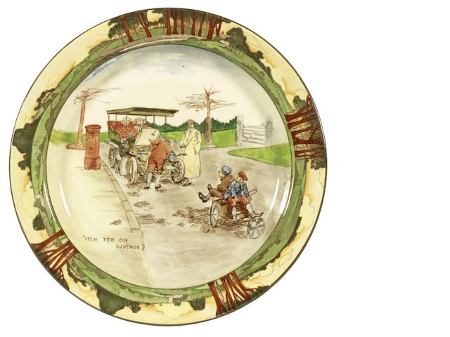 A Royal Doulton 'Series Ware' motoring plate by George Holdcroft, 'Itch yer on Guvenor?', circa 1906,
