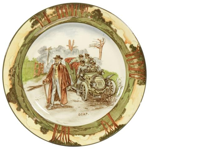 A Royal Doulton 'Series Ware' motoring plate by George Holdcroft, 'Deaf', circa 1906,