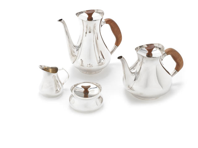 A German metalware four-piece tea and coffee service incuse marked VISITORS' PAVILLON FRANKFURT-MAIN, STERLING 925  (4)