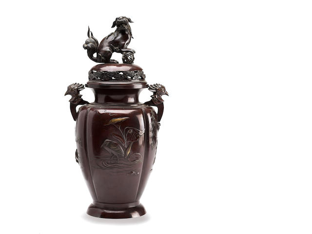 A large bronze vase and cover Meiji