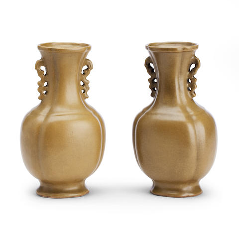 A pair of teadust-glazed baluster vases Un-marked probably 19th century