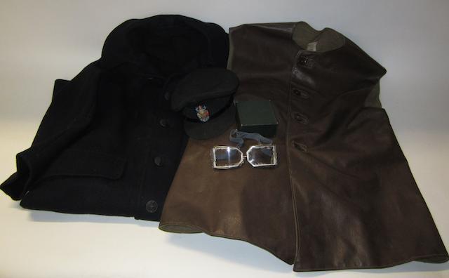 An Automobile Association patrolman's leather jerkin,
