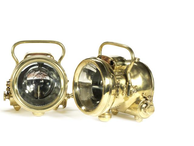 A pair of Rotax 'Roadlight 265' self-generating acetylene headlamps, British,