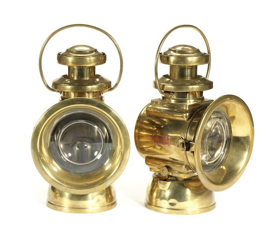 A pair of Lucas King Of The Road, model 664, oil illuminated lamps, British,