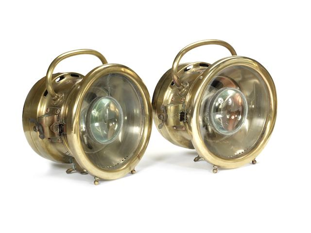 A pair of Napier acetylene headlamps, British, 1907,