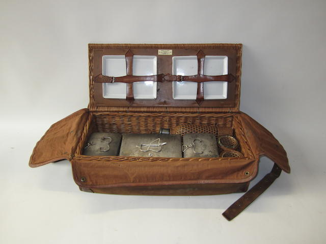 A four-person wicker cased picnic set, Edwardian, By Drew & Sons,