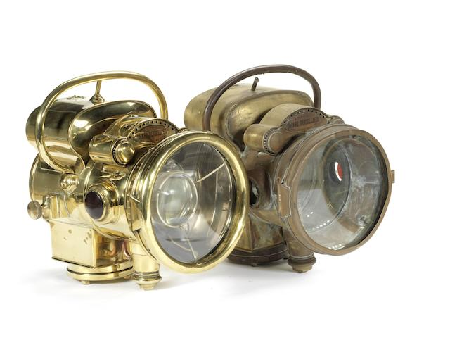 A rare pair of Phare Ducellier model 861 self-generating acetylene headlights, French,