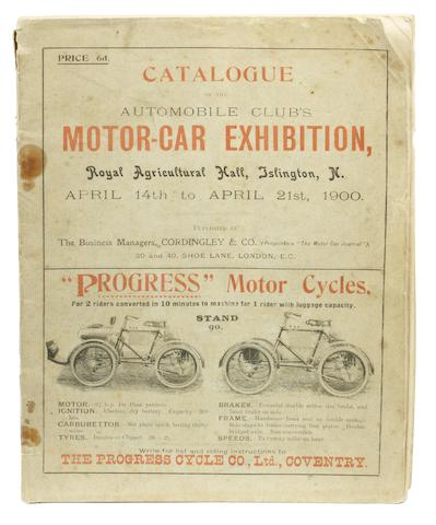 A catalogue for the Motor-Car Exhibition, 1900,