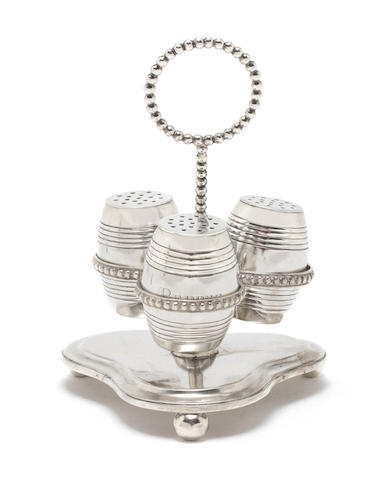 A mid-19th century Indian colonial silver cruet frame with three condiments by Charles Nephew & Co, Calcutta circa 1850