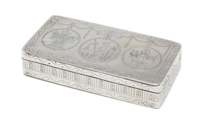 A late 18th century Dutch silver tobacco box possibly by Jan van Geelen or Abraham E. Hoeks, Schoonhoven, with later Dutch tax mark  (1)