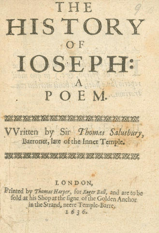 SALUSBURY (THOMAS) The History of Joseph: A Poem, 1636