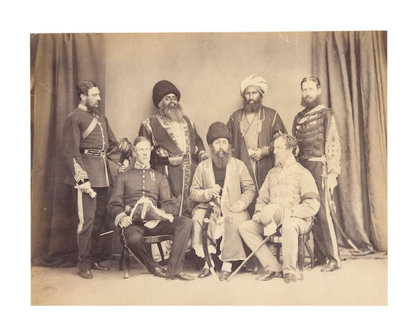 AFGHANISTAN A pair of images comprising a portrait of the Amir of Kabul, Sher Ali Khan, and a group portait of the Amir with other Afghan and British dignitaries, including Major Pollock and Colonel Chamberlain