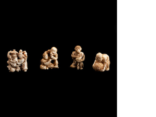 Four ivory and marine ivory netsuke Meiji