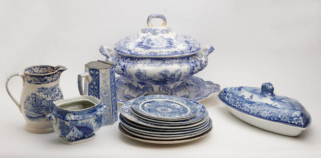 A collection of blue and white Staffordshire pottery