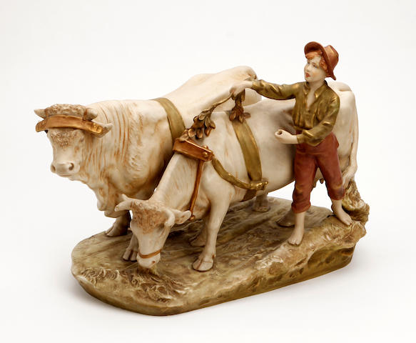 A Royal Dux figure of a cattle herder  Circa 1900