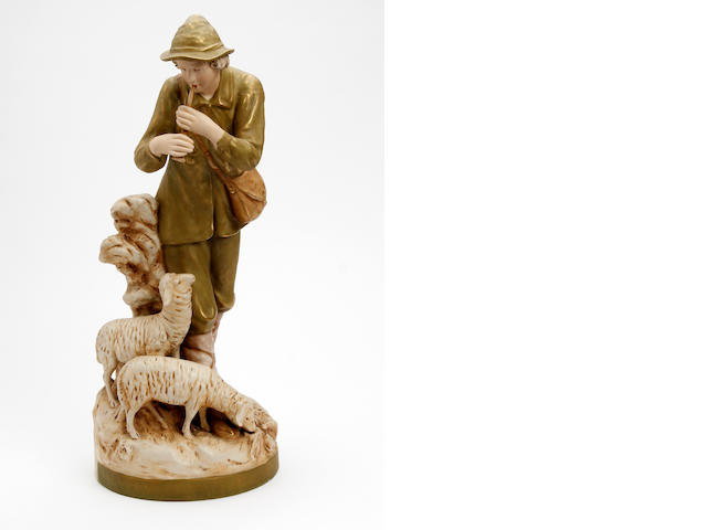 A Royal Dux figure of a shepherd  Circa 1900