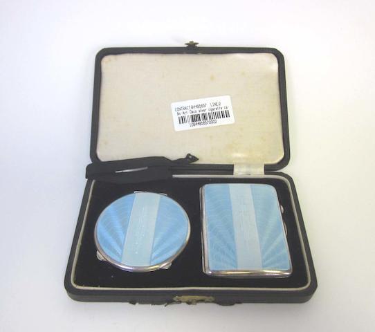 A cased Art Deco silver and guilloche cigarette case and compact by Joseph Gloster, Birmingham 1937  (2)