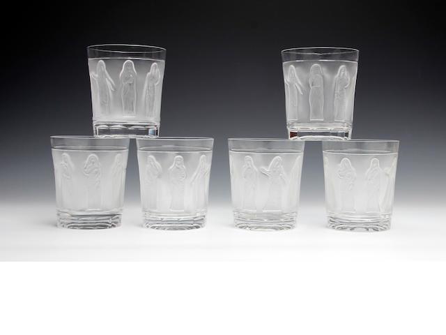 A set of six modern Lalique 'Femmes Antiques' tumblers