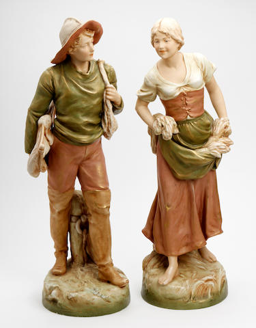 A pair of large Royal Dux figures  Circa 1900