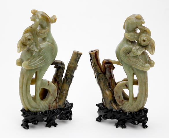 A pair of Chinese green hardstone, possibly bowenite figures of Ho-Ho birds  19th Century