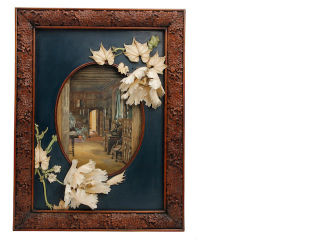 A Chinese carved wood and ivory Shibayama frame Circa 1900
