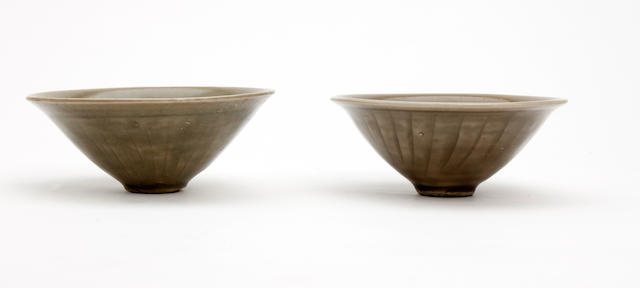 A pair of Chinese conical bowls  Song Dynasty