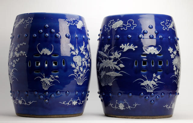 A pair of Chinese garden seats  20th Century