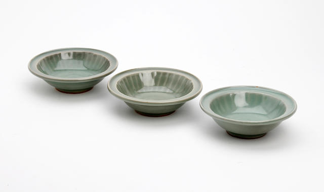 A collection of three Chinese celadon glazed bowls  Probably Yuan-Ming Dynasty