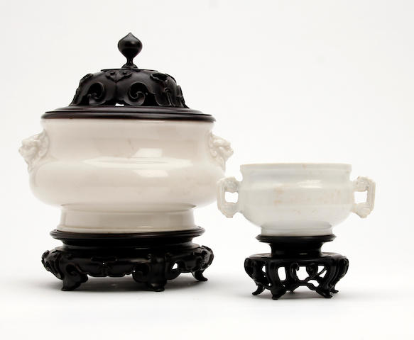 A Chinese white glazed censor 18th/19th Century