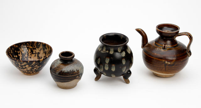 A small collection of Chinese brown glazed items