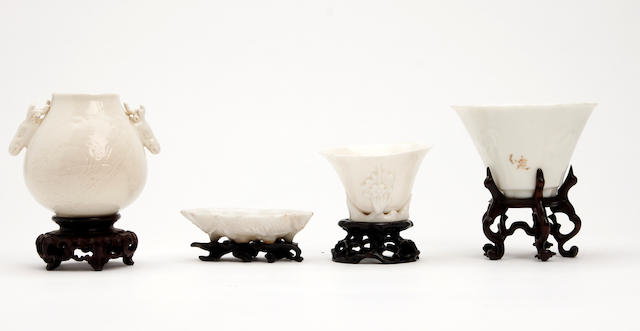 A small collection of Chinese white glazed items