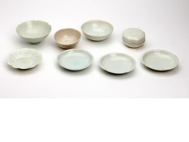 A group of three Chinese 'lotus' saucers   Possibly Song Dynasty