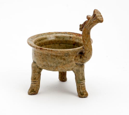 A Chinese earthenware tripod wine cup Eastern Han Dynasty