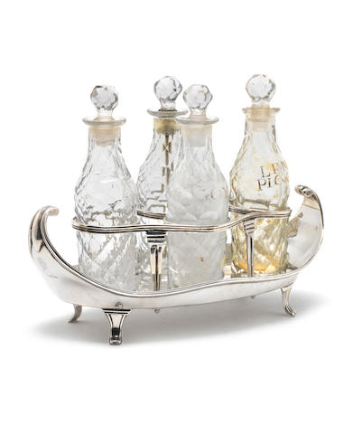 A George III   silver cruet frame by Robert Hennell, London, 1788