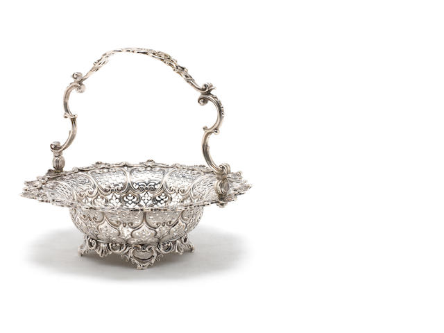 A George II silver swing-handled basket by William Solomon, London 1757
